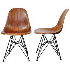 Pair of Eames Herman Miller Palisander Eiffel Base Shell Chairs