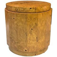Milo Baughman Fluted Burl Wood Pedestal Table