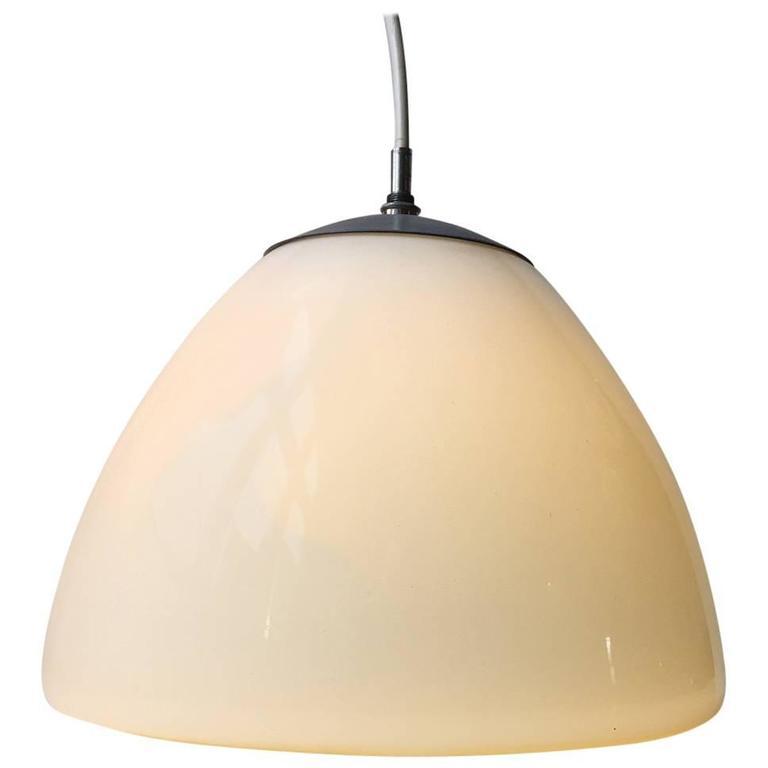 Bell-Shaped Opaline Glass 'Delta' Pendant Light by Louis Poulsen, Denmark, 1960s