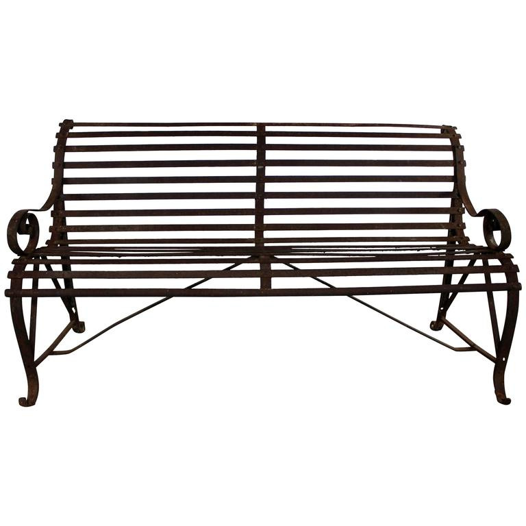 Antique 19th Century Forged Strap Iron Garden Bench