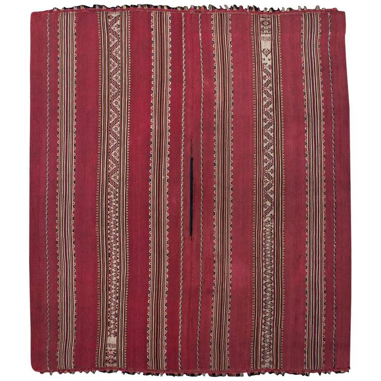Mid-19th Century Tribal Aymara Striped Wool Poncho, Bolivia