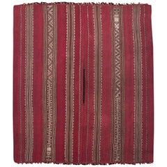 Mid-19th Century Tribal Aymara Striped Wool Poncho, Bolivia