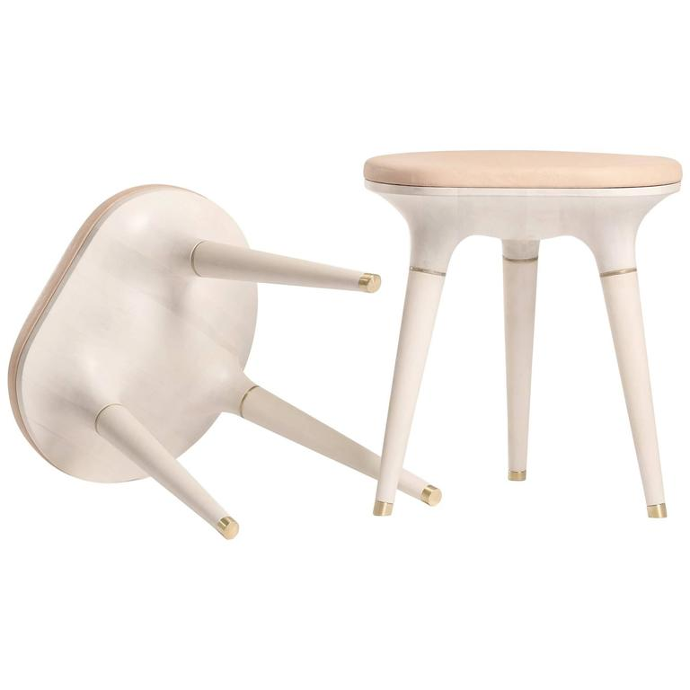 Contemporary Stool in Carved Maple, Brass and Leather