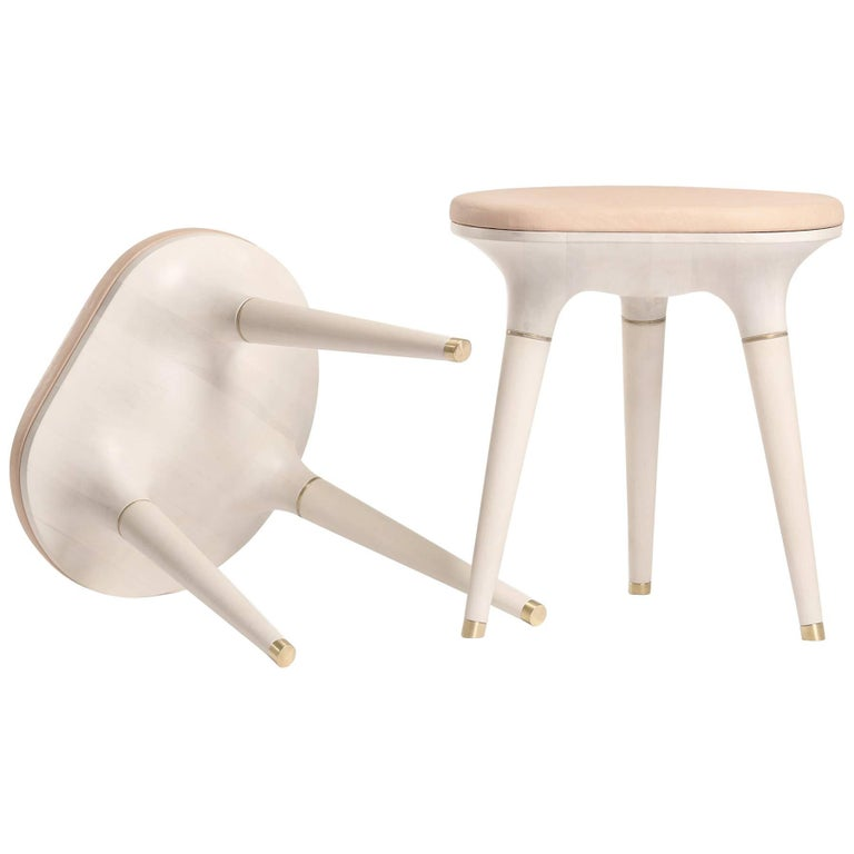Contemporary Stool in Carved Maple, Brass and Leather For Sale