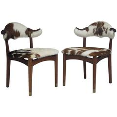 Danish Mahogany Horn Chairs in Cow Hide
