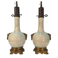 19th Century, French, Bronze-Mounted Crackle Glaze Ceramic Lamps