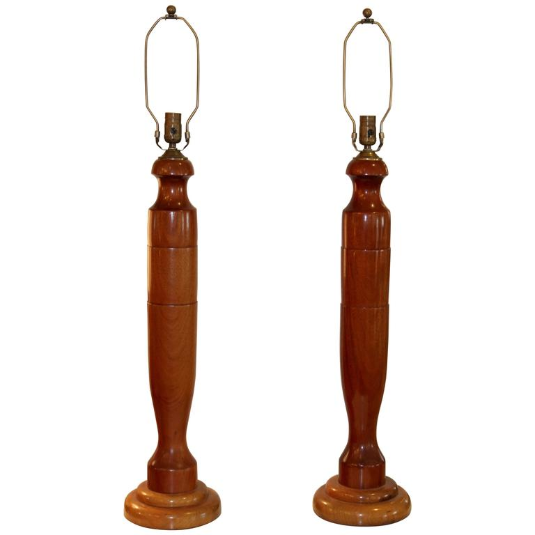 1940s, Tall Walnut Table Lamps