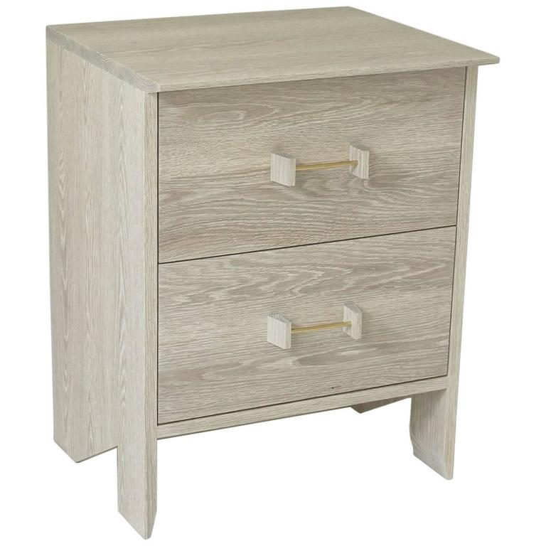 Phoebe Side Cabinet In Bleached Oak Modern Handcrafted End Table Storage For