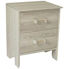 Phoebe Side Cabinet in Bleached Oak Modern Handcrafted End/Side Table Storage