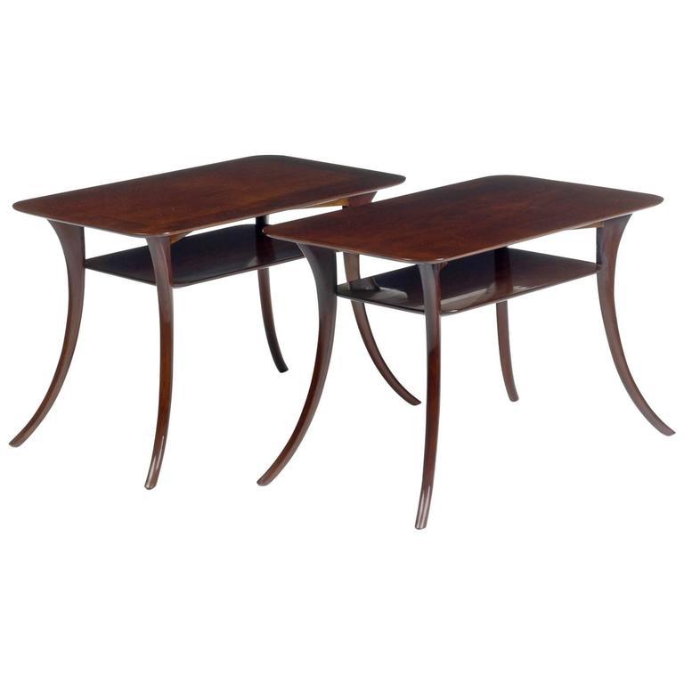 Pair of Klismos Sabre Leg Tables by T.H. Robsjohn-Gibbings for Widdicomb
