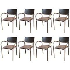 Set of Eight Italian Modern Dining Chairs by Lowenstein