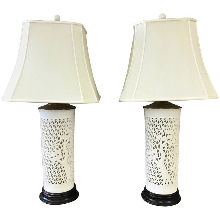 Pair of Blanc de Chine Cherry Tree Motif Table Lamps