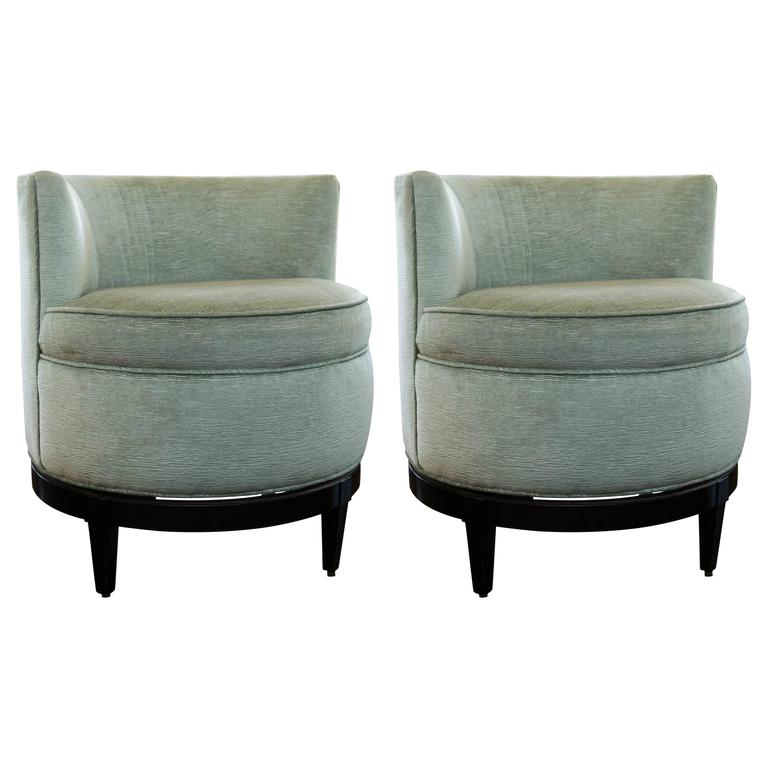 Pair Of Swaim Barrel Back Swivel Chairs For Sale