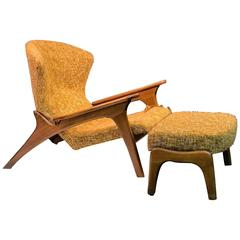 Angular Vladimir Kagan Style Grasshopper Chair and Ottoman by Adrian Pearsall