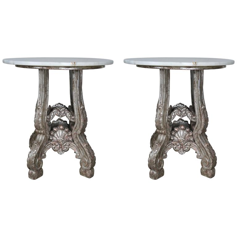 Pair of French Silvered Tables with Marble Tops