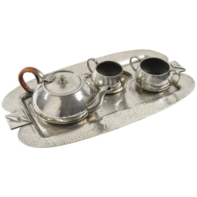 Fenton Bros Ltd Sheffield England Art Nouveau Pewter Tea Coffee Serving Set