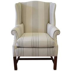 20th Century Linen Upholstered Wing Chair