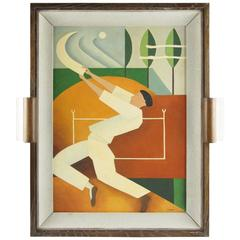 Art Deco Cubist Gouache on Board Painting by C. Massin Sport, Chistera, Jai Alai