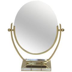 Brass and Acrylic Vanity Mirror by Charles Hollis Jones