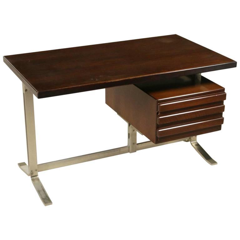 Desk With Drawers By Forma Nova Walnut Veneer Chromed