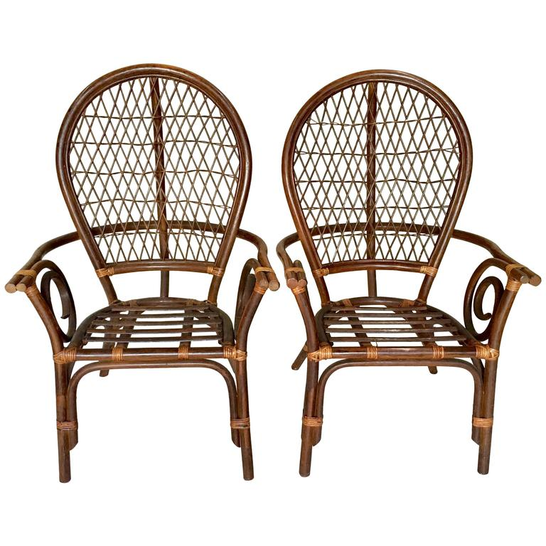 Vintage Pair of Bent Rattan & Wicker High Back Armchairs