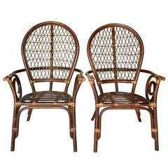 Vintage Pair of Bent Rattan and Wicker High Back Armchairs