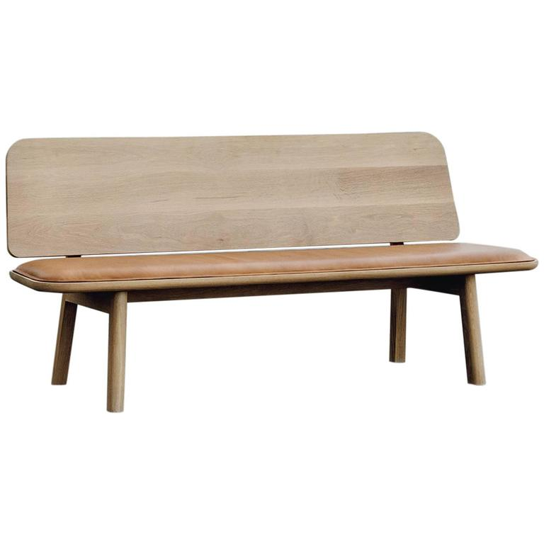 Olo Bench, Solid White Oak, Hand-Stitched Vegetable Tanned Leather Upholstery