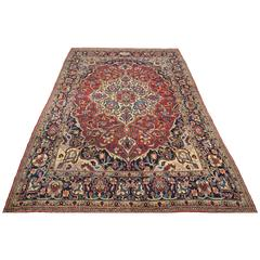 Late 19th Century  with Red and Blue Colors on Wool Meshed Rug