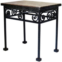 Hammered Iron and Marble French Art Deco Table