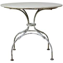 Round Wrought Iron and Marble Garden Table, France, Early 1900s