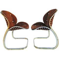 Rare Pair of Gold and Chrome Leather Gastone Rinaldi Chairs, circa 1970