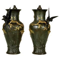 Pair of Refined Bronze Vases Japoniste Taste by Jules Moigniez, France