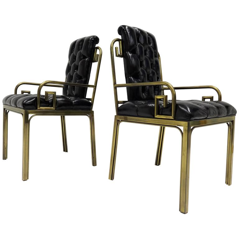 Pair Mastercraft Greek Key Design Brass Dining Chairs