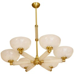 Italian Six lights Venini White and Transparent Blown Glass Chandelier, 1940s