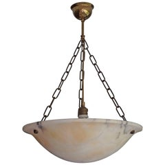 Large & Beautiful Shape Antique Alabaster Pendant Light w. Brass Chains & Canopy