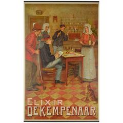 Early 20th Century Chromolith Poster Elixir De Kempenaar