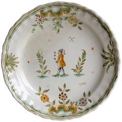 Late 18th Century, Faience Dish or Plate, Hand-Painted Juggler, circa 1790