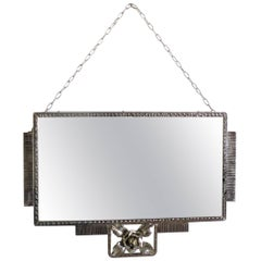 Nickel plated iron Art Deco French Mirror