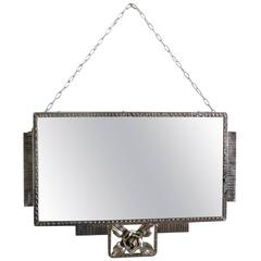Art Deco French Mirror in Nickel-Plated Iron