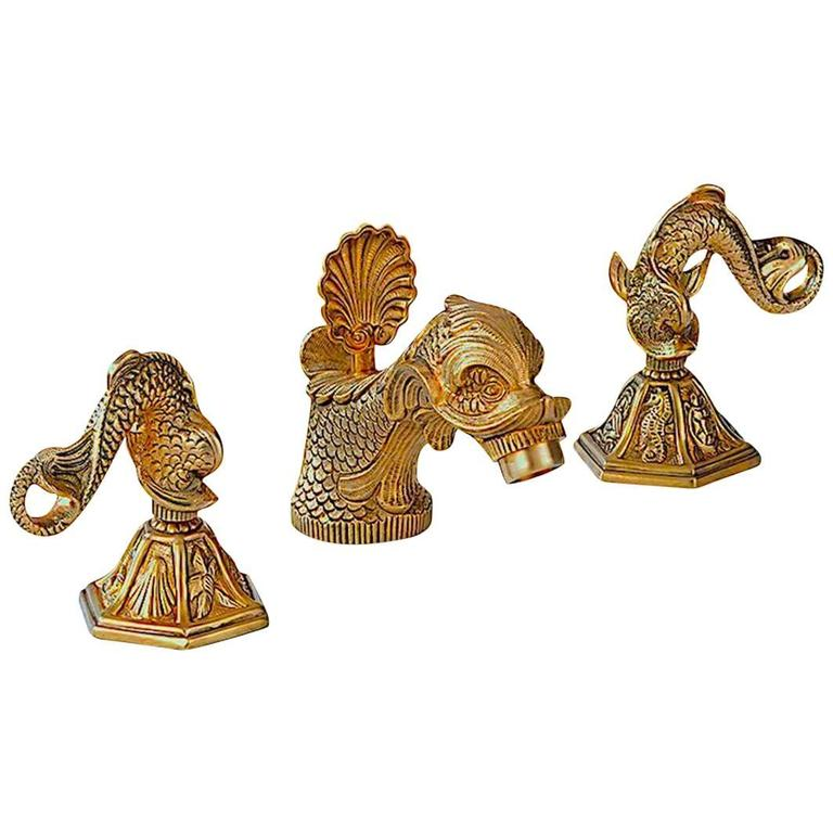 1960s Sherle Wagner 22 Carat Gold Plate Dolphin Sink Faucet Set For Sale