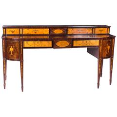 Antique Regency Flame Mahogany Inlaid Sideboard, circa 1820