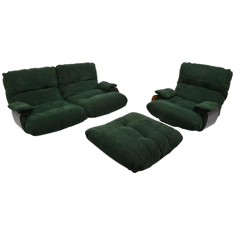 Green Buckskin Marsala Sofa by Ligne Roset For Sale