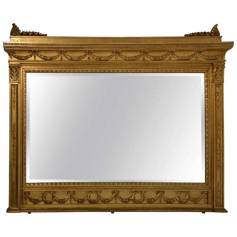 Italian Second Empire Style Giltwood Mirror With Palmette Decorations 1