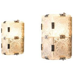 Six Art Deco Wall Lights in Structured Glass