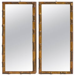 Pair of Wooden Faux Bamboo Wall Mirrors in Gold Color, France 1950's