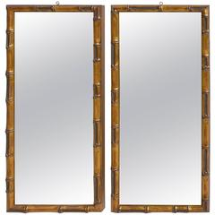 Pair of Wooden Faux Bamboo Wall Mirrors in Gold Color
