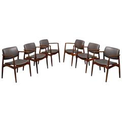 Six Erik Buch Reupholstered Dining Chairs in Solid Rosewood and Leather