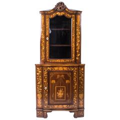 Antique Dutch Mahogany Marquetry Corner Cabinet, circa 1780