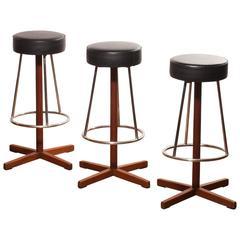 1960s, a Beautiful Set of Three Bar Stools