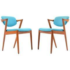 Pair of Mid-Century Teak Kai Kristiansen Dining Chairs Model#42